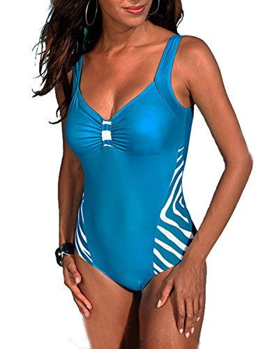 Tempt Me Women One Piece Plus Size Backless Zebra-stripe V Neckline Monokini Swimsuits Blue S