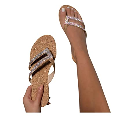 Sandals for Women Flat, Women's 2020 T-Strap Comfy Platform Sandal Shoes Summer Beach Travel Fashion Slipper Flip Flops at Women's Clothing store