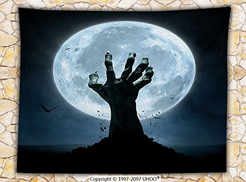 Halloween Decorations Fleece Throw Blanket Zombie Hand Earth Soil Full Moon Bat Horror Story October Decor Twilight Themed Throw (West Elm Halloween Decorations)