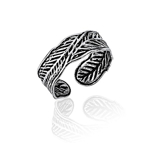 Chuvora 925 Sterling Silver Vintage Nature Inspired Leaf Dark Veins Wrap Around Open Band Toe Ring, 6 (Tribal Sun Sterling Silver Ring)