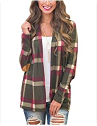 Women's Stylish Plaid Print Long Sleeve Suede Elbow Patch Draped Open Front Cardigan Sweater