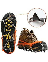 Ice Snow Shoes Grips Traction Cleats Grippers Crampons for Outdoor Walking Hiking Camping Mountaineering Climbing Hunting