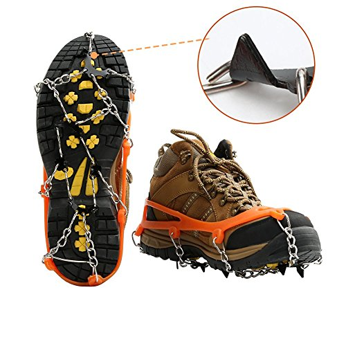 Ice Grips for Shoes / Boots Cosyzone Traction Cleats Grippers Crampons for Walking Hiking-Stainless Steel Spikes(L)