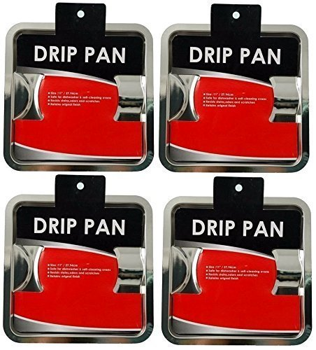 4 x HEAVY DUTY CHROME STEEL SQUARE REUSABLE GAS BURNER BIB LINER COVERS DRIP PAN - Pan Ring Drip