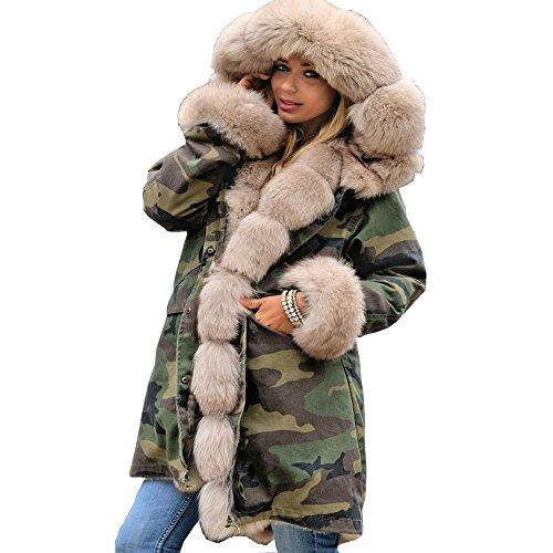 Insulated Wool Coat - Roiii Women Thicken Warm Winter Coat Hood Parka Overcoat Long Jacket Outwear (3XL, Beige 7009)