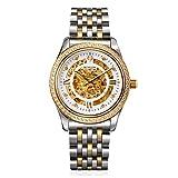 BINLUN Mens 18K Gold Watch Diamond Skeleton Automatic Mechanical Dress Watches for Men