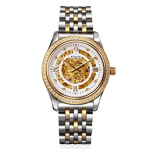 BINLUN Mens 18K Gold Watch Diamond Skeleton Automatic Mechanical Dress Watches for Men by BINLUN