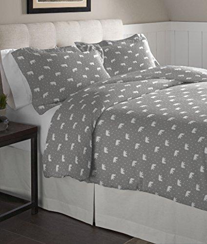 Pointehaven Flannel Oversized Duvet Set, Full/Queen, Polar - Flannel Polar Bear
