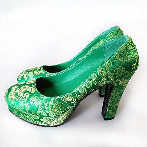 KHSKX-11Cm Zapatos Verdes Con Zapatos De Boda Las Mujeres Embarazadas Zapatos De Boda Zapatos Zapatos Brindis Auto green