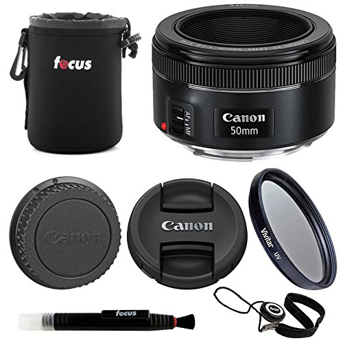 Canon EF 50mm f/1.8 STM Lens with 49mm UV Filter and Small Nylon Padded Lens Pouch Accessory Bundle by Canon