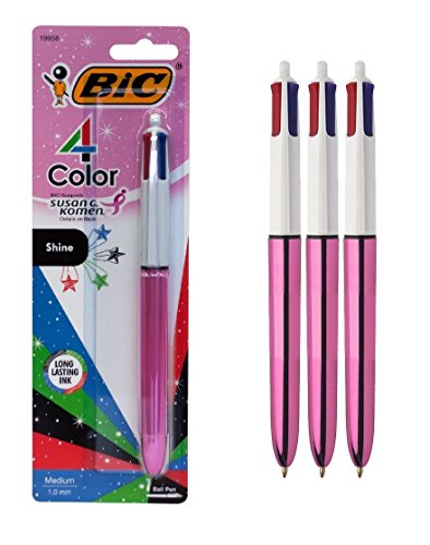 BIC 4-Color Shine Metallic Ball Pen, Medium Point (1.0 mm), Assorted Ink, 3-Count, Pink Barrel (Bic Pens Pink)
