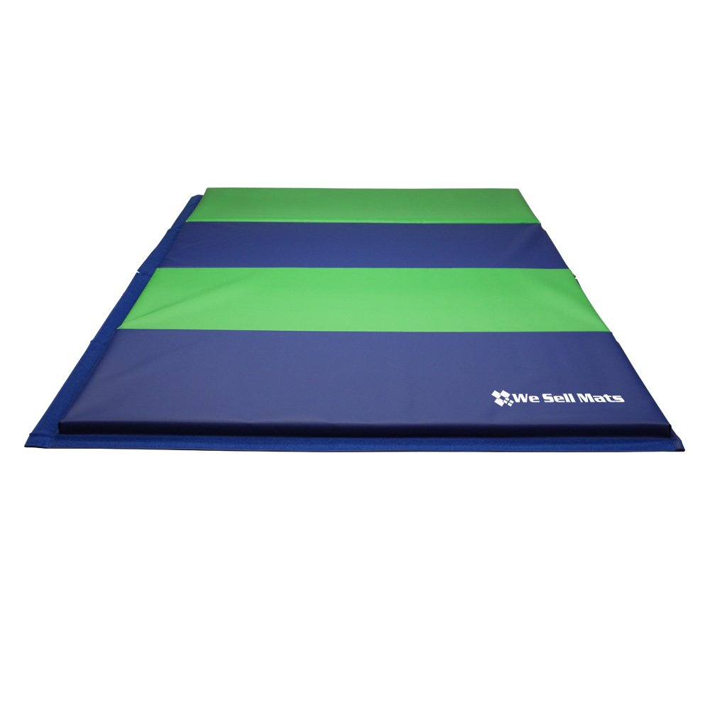We Sell Mats Gymnastics Tumbling Exercise Folding Martial Mat with Hook/Loop Fasteners, Blue/Lime Green, 1.5'' by We Sell Mats (Image #3)