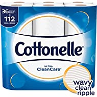 Cottonelle Ultra CleanCare Toilet Paper, Strong Biodegradable Bath Tissue, Septic-Safe, 36 Family+ Rolls