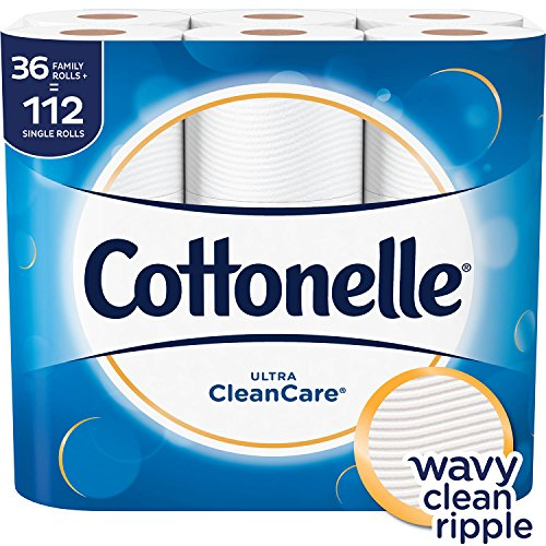 Cottonelle Ultra CleanCare Toilet Paper, Strong Bath Tissue, 36 Family Rolls+
