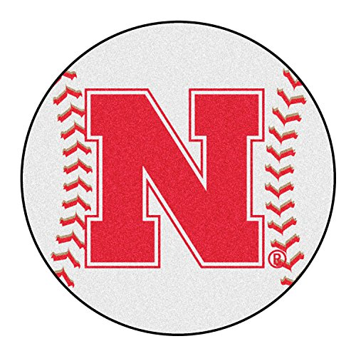 Fanmats Sports Team Logo Design Round Shaped Nylon Carpet University of Nebraska Baseball Mat