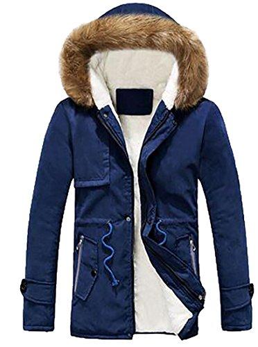 MLG Men's Winter Hooded Faux Fur Lined Warm Outwear Jackets Outdoor Blue XS - Abercrombie Fur Jacket