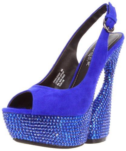 Pleaser Women's Swan-654DM/RYBLS Platform Sandal,Royal Blue Suede,8 M US