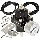 AJP Distributors Universal Jdm Anodized 0 to 140 PSI Fuel Pressure Regulator with Gauge (Black