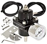 AJP Distributors Universal Jdm Anodized 0 to 140 PSI Fuel Pressure Regulator with Gauge (Black)