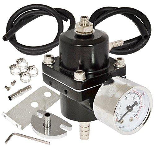 AJP Distributors Universal Jdm Anodized 0 to 140 PSI Fuel Pressure Regulator with Gauge (Black)