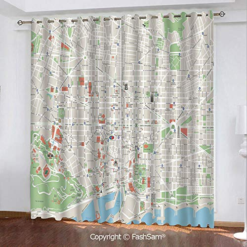 Blackout Curtains Set Room Darkening Drapes Map of Barcelona City Streets Parks Subdistricts Points of Interests Decorative Darkening Panel for Bedroom(108