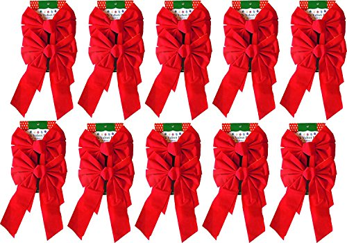 (Red Velvet Christmas Bow 9-inch X 16-inch, 20 Pack of Holiday Bows)