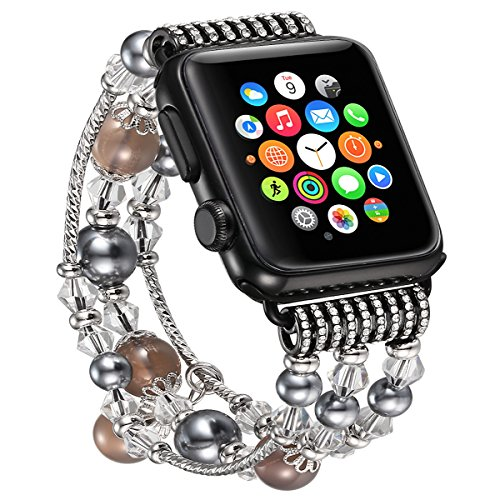 fastgo Compatible for Apple Watch Strap 38mm, Classy Stainless Steel Slider Compatible for Apple Watch Band with Elastic Beaded for Feminine Women(Gray-38mm 40mm)]()