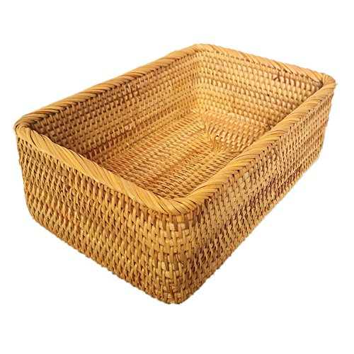 AMOLOLO Handmade Rectangle Wicker Fruit Box Rattan Tray Magazine Organizer Small Objects Container Serving Basket (Large) ()