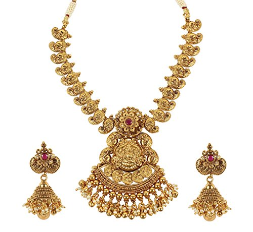 MUCH-MORE Gold Tone Pearl Temple Jewelry Polki Necklace Set Indian Traditional Jewelry (2388)