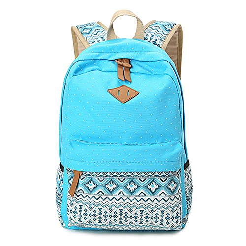 Gintan Exotic Style Canvas Polka-Dot Print Casual Daypack College Student Satchels, Sky Blue