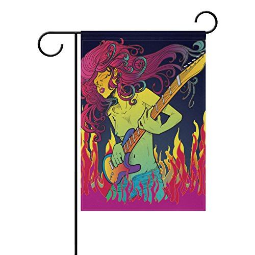 """LEISISI Psychedelic Music Girl Garden flag 12""""X18"""" Two Sided"""