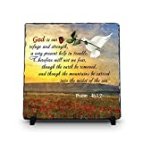 God Is Our Refuge And Strength, A Very Present Help… Psalm 46:1-2 (11.5X11.5, KJV) | Superior Religious Inspirational Home Décor By Inspiragifts Slate | Christian Home Plaque Stone Gift Review