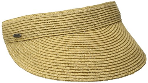 SCALA Women's Paper Braid Visor, Toast, One Size