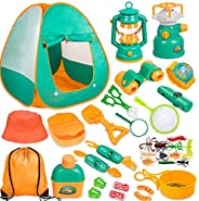 Meland Kids Camping Set with Tent 24pcs - Camping Gear Tool Pretend Play Set for Toddlers Kids Boys Girls Outd