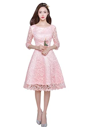 Drasawee Juniors 3/4 Sleeves Lace Evening Party Cocktail Dress Knee Length Prom Formal Gowns