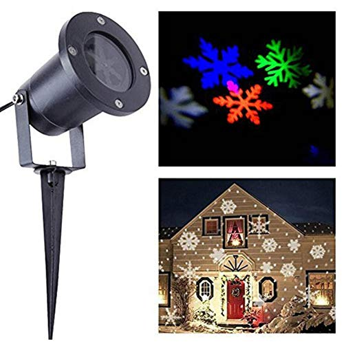 Led Projector Lights, Laser Christmas Lights Halloween Projector Lamp, Four Colorful Snowflakes Dynamic Lamp, 110v-200v Party, Wedding, Night Club, Yard and Garden
