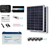 Renogy 200 Watts 12 Volt Complete Solar Panel kit Polycrystalline with Charge Controller +Mounts+ 100AH Gel Battery+ 500W Pure Sinve Inverter
