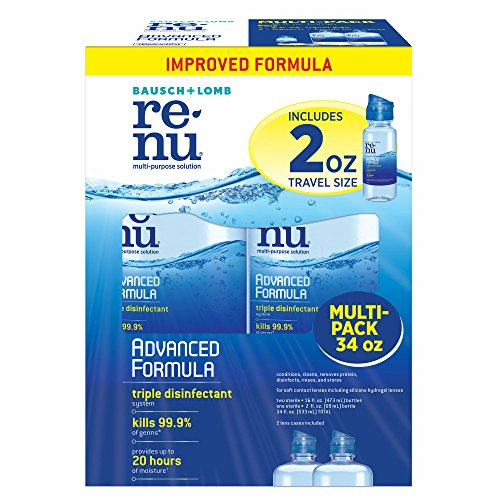 Advanced Formula Case - Product of Renu Multi-Purpose Advanced Formula Contact Solution, 2 pk./16 oz. with Bonus Travel Bottle, 2 oz. and 2 Lens Cases - [Bulk Savings]