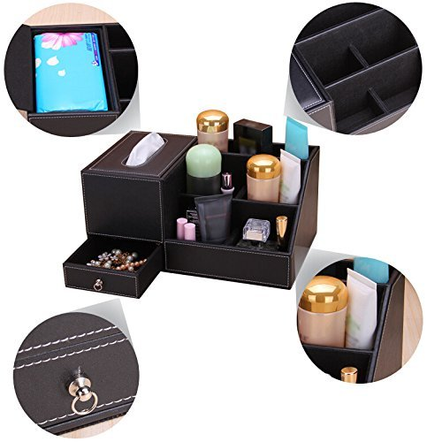 JHGJ Leather TV Remote Control Holder Organizer / Tissue Box / Controller TV Guide / Mail / Caddy for Desk / Caddy / Office / Pens / Pencils / Makeup Brushes / Nightstand / Holder (Black) by JHGJ (Image #3)