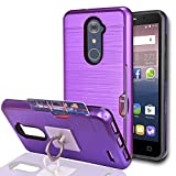zte imperial 2 cases - ZTE Imperial Max Z963U/ZMAX Pro Z981/Kirk Z988/Grand X Max 2/Max Duo LTE Case With Phone Stand,Ymhxcy [Credit Card Slots Holder] Dual Full-Body Shockproof Protective Cover Shell For Z981-LCK Purple