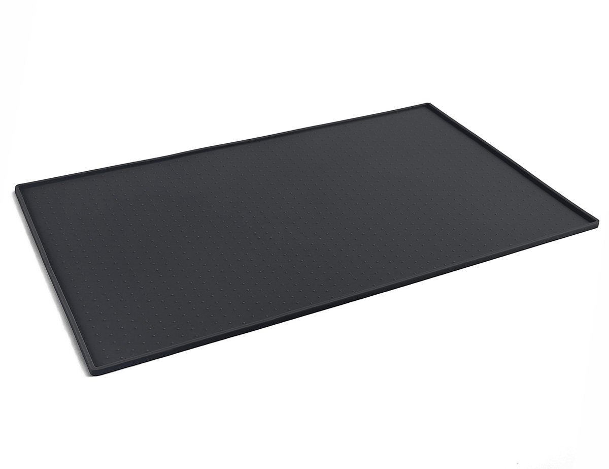 PetCee Dog Mats for Food,FDA Grade Silicone 15.7''x23.6''Waterproof Pet Food Mat Non Slip Dog Bowl Placemat (Black)