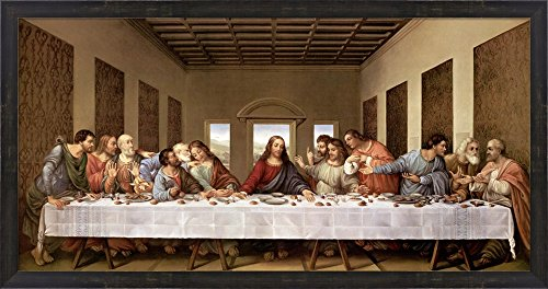 The Last Supper by Leonardo Da Vinci Framed Art Print Wall Picture, Espresso Brown Frame with Hanging Cleat, 38 x 20 inches by Great Art Now