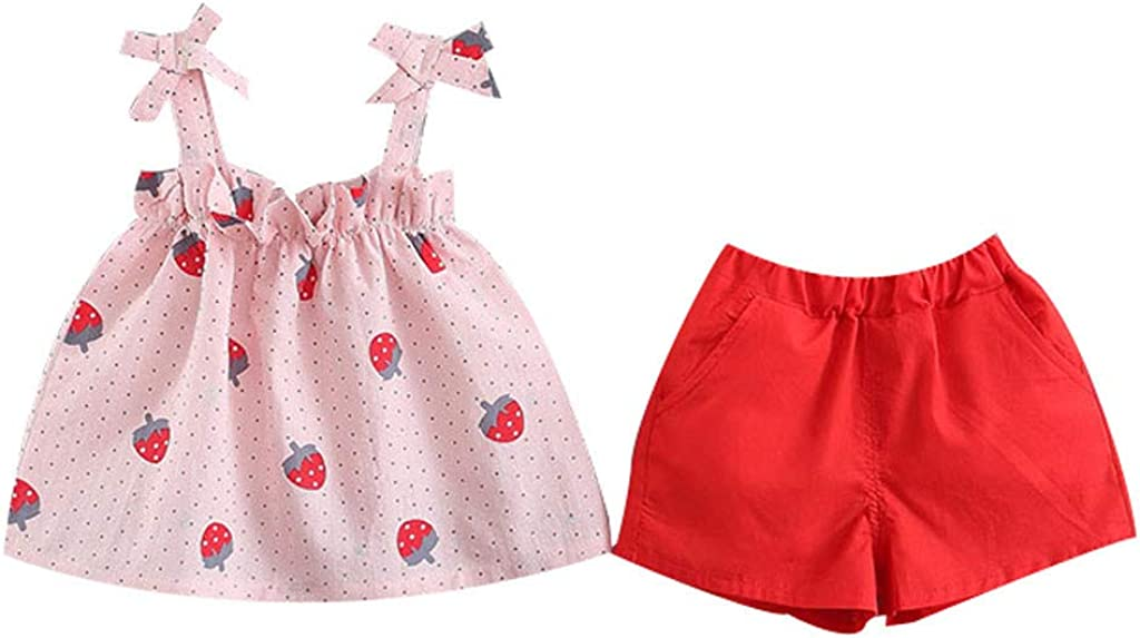 RYGHEWE Childrens Clothes Summer Clothes for Little Girls,Cartoon Bowknot T-Shirt+Floral Shorts 2Pcs Set