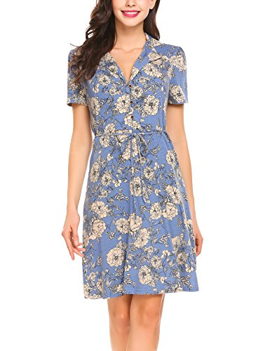 Casual Pasttry Grey Short Women Belt Dress Slim Blue up Neck Sleeve Lapel Floral Shirt V with Dress Button 77BrxwT