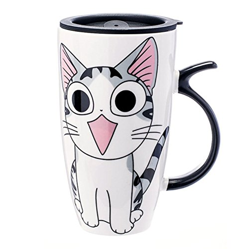 XNQ Cute Cat Style Ceramic Mugs with Lid & Spoon Cartoon Creative Moring Mug Milk Coffee Tea Unique Porcelain Cups 600ml (Smile) (Halloween 90s Mix)