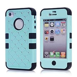 SHHR-N4MTX07 Crystal Diamond Bling Hybrid Cover Case for Apple iPhone4 4s 4G - Light BLue/Black