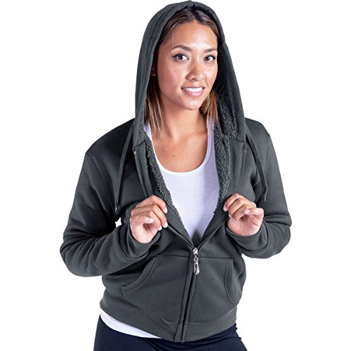 Women's Plus Size Full Zip Soft Sherpa-Lined Fleece Hoodie DK Grey 2XL