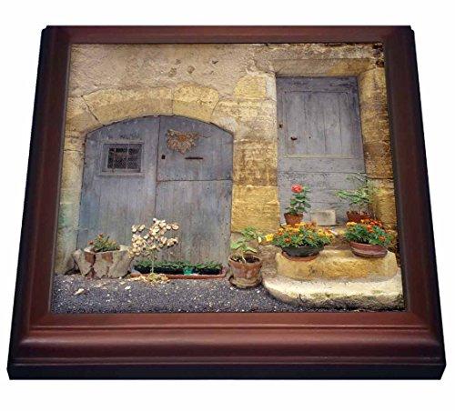 "3dRose trv_81333_1 France St Come Doit, Stone Building, Wooden Doors EU09 AJN0006 Alison Jones Trivet with Ceramic Tile, 8 by 8"", Brown"