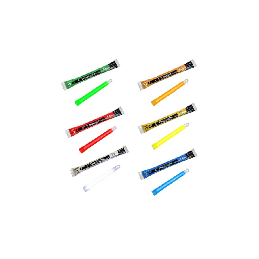 Cyalume Snaplight Emergency Light Sticks Green, Red, White, Blue, Orange, Yellow 20 Pack