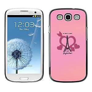 TopCaseStore / la caja del caucho duro de la cubierta de protección de la piel - Loves Paris Eiffel Tower - Samsung Galaxy S3 I9300